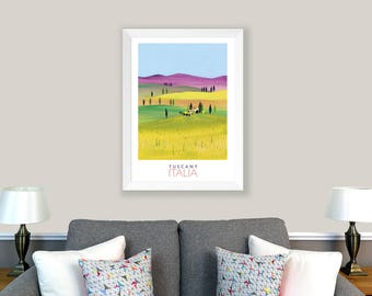 POSTER Tuscany, Italy. Print of original collage. Countryside, cypress trees, tuscan villa, green, blue, purple. Living room decor.