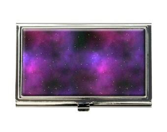 Purple Space Nebula Business Credit Card Holder Case