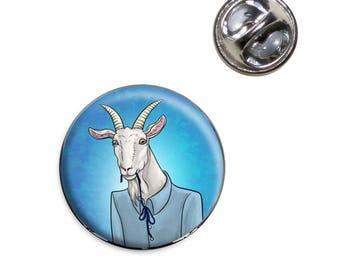Portrait Of A Goat Lapel Hat Tie Pin Tack