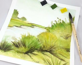 River Landscape, watercolor, copy of author, square picture, home office decoration, dining room, lounge, living, studio, restaurant, gift.