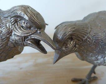 Pair Courting Metal Birds, Vintage French Ornamental Birds, White Metal Bird Figurines 0417020-123