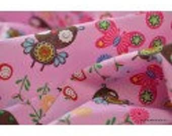 Printed cotton Poplin drawing nice pink x50cm background