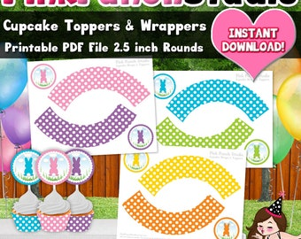 DIY Printable Easter Cottontail Bunny Spring Cupcake Toppers and Wrappers 2.5 inch Rounds PDF Instant Download