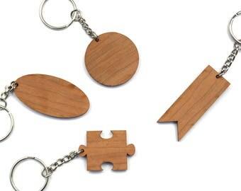 Build-Your-Own Cherry Wood Keychain - Wood Keychain - Custom Engraved Wood Keychain - Personalized Wood Keychain