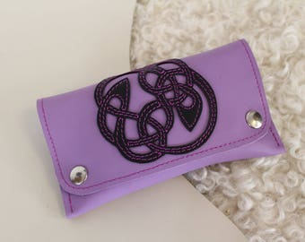 Pale purple leather tobacco pouch