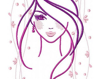 F003 Beauty girl - Machine Embroidery Design, two sizes