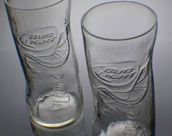 Bud Light Lime Cut Bottle Upcycled drinking glass set of 2