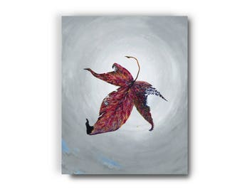 20 in. x 16 in. Giclée, Canvas Print, Leaf, Autumn, Sky, Acrylic Painting,  Contemporary Art, Surrealism