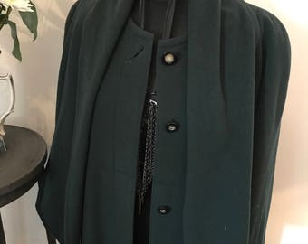 L.A.S. Vintage Olive Green Wool and Cashmere Coat. Green Wool Coat. Cashmere Green long coat.