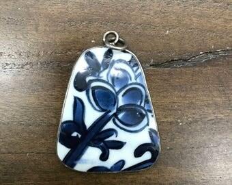 Broken china handmade pendant, blue and white old china broken piece handmade