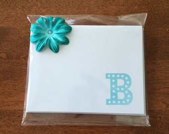 Initial Stamped Set of 8 Note Cards
