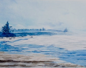 Limited Edition, Rising Mist, Oregon Coast, Pacific Northwest, Pacific Ocean, Redwood Coast, Oregon, Seascape,Watercolor Giclee Print, Ocean