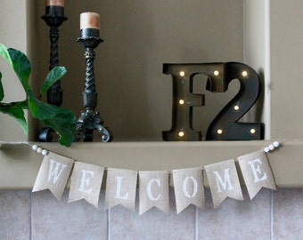Welcome Burlap Banner. Welcome Wedding Banner. Welcome Home Decor Banner. Welcome Party Banner. Rustic Welcome Bunting. Shabby Chic Banner