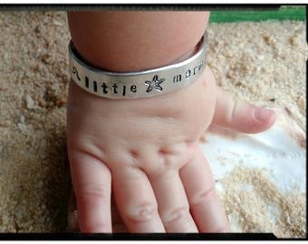 Little Mermaid - Girl/Toddler Cuff Bracelet - Hand Stamped/Waves/Starfish/Sand Dollar/Hibiscus Flower - Name on Inside - Girl Gift