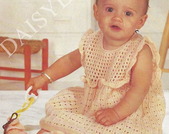 PDF Instant Digital Download baby pretty dress knitting pattern 18 to 22 inch chest 4 ply (170)