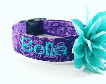 Personalized Dog Collar, Embroidered Dog Collar, Handmade Dog Collar, Custom Dog Collar, Dog Collar, Owl Dog Collar, purple collar