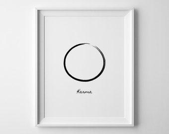 Karma Wall Art, Yoga Print, Karma Print, Karma Gifts, Karma Quote Wall Art, Large Printable Poster, Scandinavian Modern