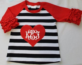 SALE! Boutique Girls / Baby Velntine's Day Raglan with Heart and Ruffle sleeves with name!