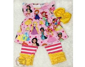 Boutique Girls / Baby Disney  Princess Dress & Ruffle Capri Set add name