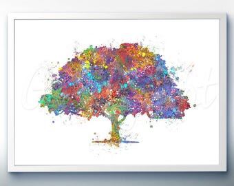 Tree Forest Watercolor Print - Home Living - Tree Painting - Tree Art - Wall Decor - Home Decor, House Warming Gifts