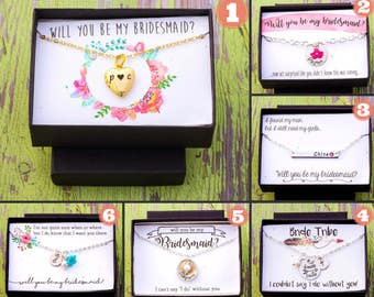 SALE • Wedding Gift Box Bridesmaid Gift Will You Be My Bridesmaid Gift Wrap • Custom Box Quote Wedding • Maid of Honor Gift Necklace Box