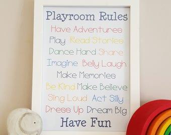 Playroom Rules, Playroom Rules Print, Humorous Poster, Playtime Rules, Nursery Picture, Playroom Wall Art, Kids Bedroom Pint,