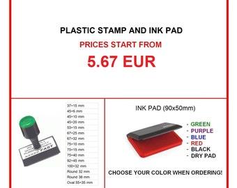 Plastic Handle Stamper with Custom Personalized Stamp and with Ink Pad