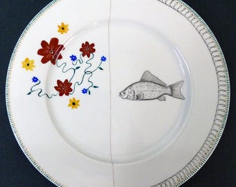 Hand painted porcelain collection plate  - assembly - 05