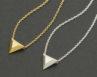 Dimensional Triangle Necklace / geometric triangle necklace, triangle charm necklace, geometric jewelry, pyramid shape / N0-76