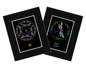 DRAGONFLIES in FLIGHT - a Set of 2 Midnight Edition Art Prints - One Dragonfly or 4 Dragonflies - take them both! Matted and ready to FRAME!