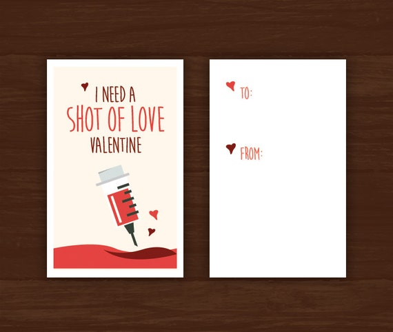 valentines day card medical themed download i need a shot of love great for doctors med students nurses hospitals etc - Etsy Valentines Day Cards