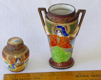 Vintage Group of Two Miniature Made in Japan marked Satsuma-type Porcelain Vases