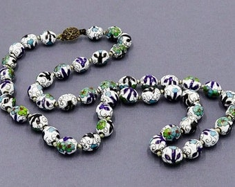 White Chinese Cloisonne Oval Bead Necklace