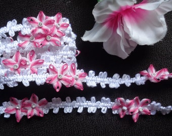 white ribbon trim with flowers 1/2 inch wide price for 1 yard