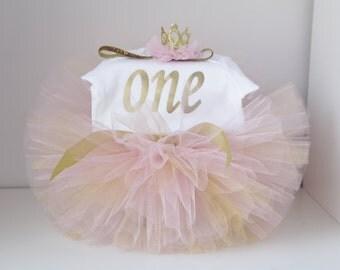 Pink and Gold First Birthday Tutu Set, Gold crown headband, Number One Bodysuit,Cake Smash Outfit, Cake Smash Set,