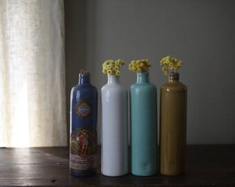 Vintage Minimalist Ceramic Stoneware Glazed Pottery Bottle Decanter Vase