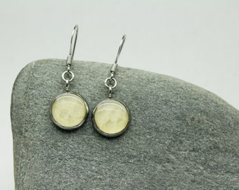 Real Sockeye Salmon Skin Earrings - 10mm bezels - Alaska Earrings - Hypoallergenic Earring Hooks - Fishing, Alaska [Item #122]