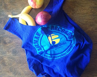 Reuseable grocery bag/ market bag/ ecofriendly shopping tote bag/ upcycled tshirt tote/ blue/ cute beach or gym bag/ farmers market/ hawaii