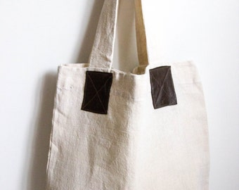 Linen tote bag - Brown and white linen bag - Tote bag - Groceries eco bag  - Linen tote bag - Market bag - Summer beach bag