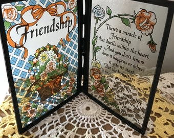 VINTAGE* Book Shaped FRIENDSHIP PLAQUE* With Touching Inspirational Verses*