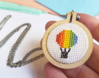 Hot Air Balloon Necklace -  Cross Stitch Necklace - Rainbow Hot Air Balloon - Rainbow Jewelry - Hot Air Balloon Jewelry - Sew Cross