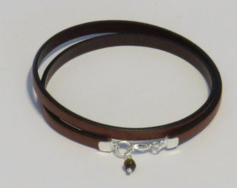 E-1785 Leather Bracelet with Sterling Silver Clasp