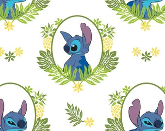 White Lilo and Stitch Tropical Frames Cotton Fabric