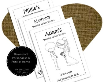 Wedding activities for kids, Childrens wedding activity pack, wedding coloring pages, printable wedding book, kids wedding colouring book A5