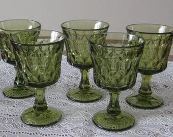 Noritake-5 green wine glasses-Perspective