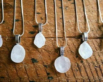 Irish Seaglass & Sterling Silver Necklace | Seaglass Jewellery  | Jewelry | Clear Seaglass | Beachglass