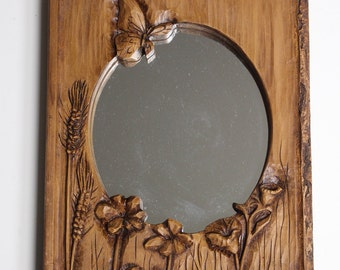 Vintage Wood Carved Mirror