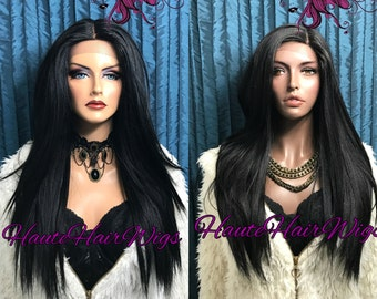 Straight Long Black  Human Hair Blend Swiss Lace Front Wig - Keisha