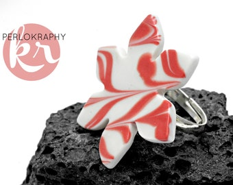 Ring with porcelain flower ~ red swirl ~.