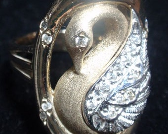 Sterling Gold Washed Swan Statement Ring